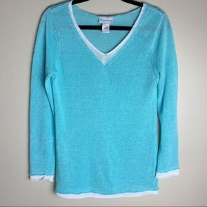 Soft Surroundings • Turquoise Blue Linen Sweater